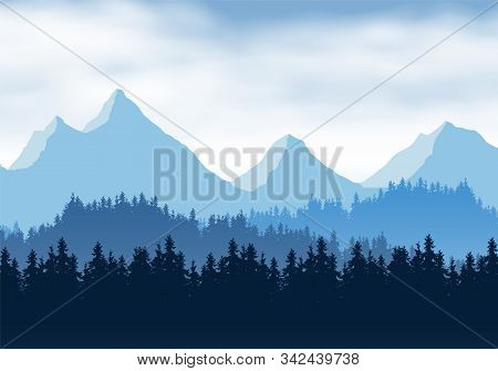 Realistic Illustration Of Mountain Landscape With Coniferous Forest And Clouds. Overcast Spring Or W