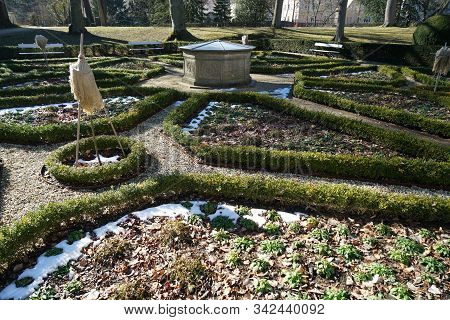 French Garden In Hibernation Photographed In A Bavarian Park In The Afternoon