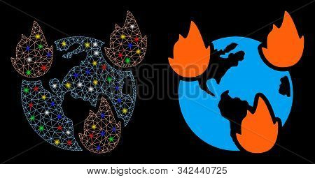 Glossy Mesh Earth Disasters Icon With Glare Effect. Abstract Illuminated Model Of Earth Disasters. S
