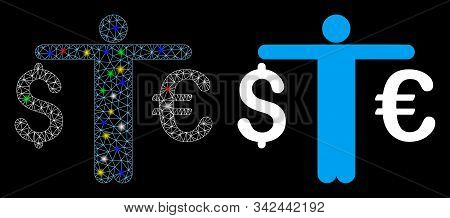 Glowing Mesh Person Compare Euro Dollar Icon With Glow Effect. Abstract Illuminated Model Of Person