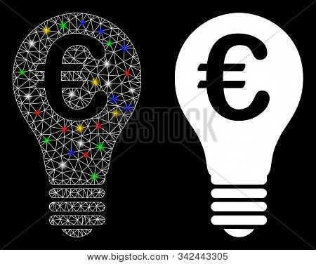 Flare Mesh Euro Patent Icon With Glare Effect. Abstract Illuminated Model Of Euro Patent. Shiny Wire