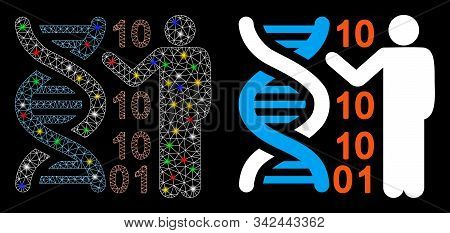Glossy Mesh Genetics Lecture Icon With Sparkle Effect. Abstract Illuminated Model Of Genetics Lectur