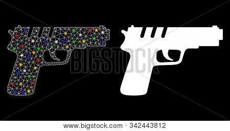 Flare Mesh Pistol Gun Icon With Glare Effect. Abstract Illuminated Model Of Pistol Gun. Shiny Wire C