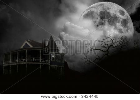 Haunted House And Full Moon