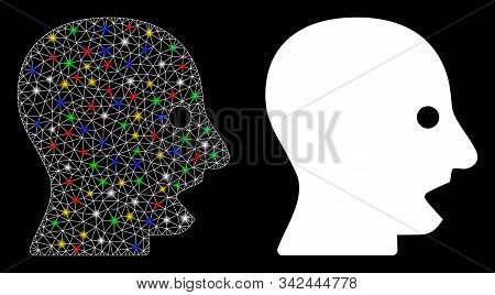 Glossy Mesh Shouting Head Icon With Lightspot Effect. Abstract Illuminated Model Of Shouting Head. S