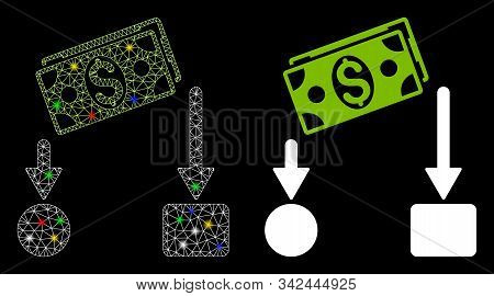 Glossy Mesh Cash Flow Icon With Glare Effect. Abstract Illuminated Model Of Cash Flow. Shiny Wire Ca