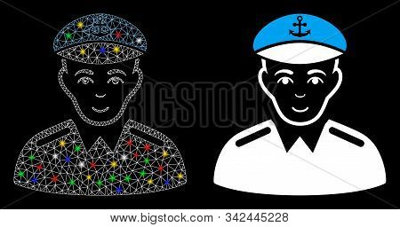 Glowing Mesh Captain Icon With Lightspot Effect. Abstract Illuminated Model Of Captain. Shiny Wire F