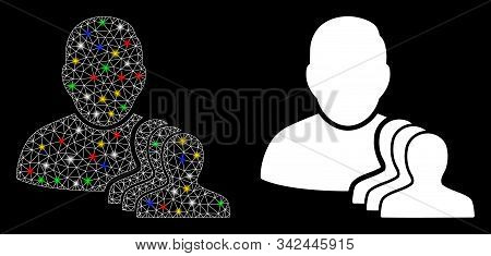 Glossy Mesh User Pawns Icon With Sparkle Effect. Abstract Illuminated Model Of User Pawns. Shiny Wir