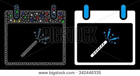 Glowing Mesh Sparkler Firecracker Calendar Day Icon With Glare Effect. Abstract Illuminated Model Of