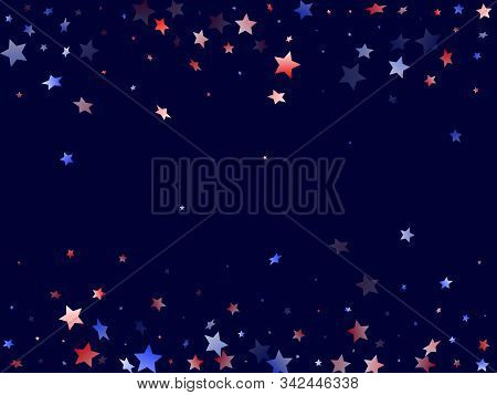 American Memorial Day Stars Background. Holiday Confetti In Usa Flag Colors For Presidents Day. Tren