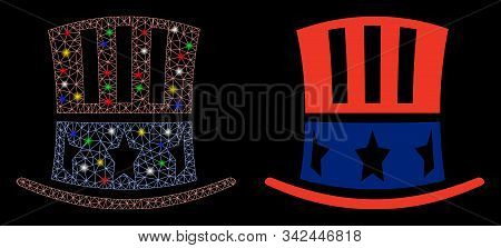 Glowing Mesh Uncle Sam Hat Icon With Glitter Effect. Abstract Illuminated Model Of Uncle Sam Hat. Sh
