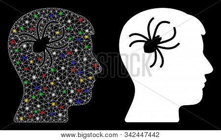 Glowing Mesh Mental Parasite Spider Icon With Glitter Effect. Abstract Illuminated Model Of Mental P