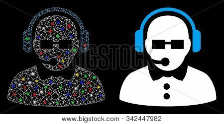 Glossy Mesh Female Operator Icon With Glow Effect. Abstract Illuminated Model Of Female Operator. Sh