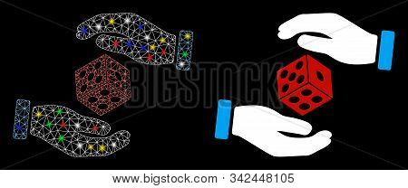 Flare Mesh Hands Throw Dice Icon With Glow Effect. Abstract Illuminated Model Of Hands Throw Dice. S