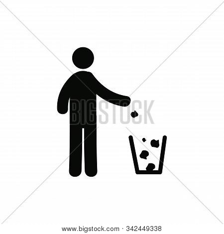 Keep Clean Place. Do Not Litter Sign. Silhouette Person On White Background. No Throwing Garbage Mar