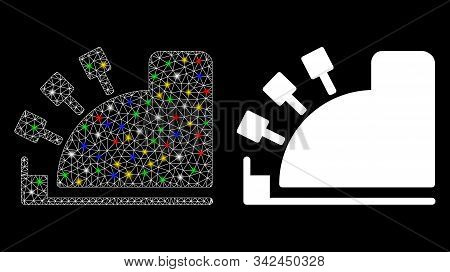 Glowing Mesh Cash Register Icon With Lightspot Effect. Abstract Illuminated Model Of Cash Register.