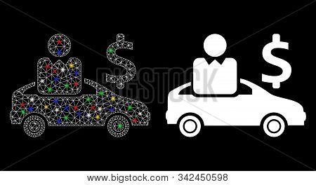 Glossy Mesh Car Buyer Icon With Glow Effect. Abstract Illuminated Model Of Car Buyer. Shiny Wire Car