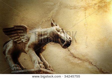 Background With Mythical Flying Dog