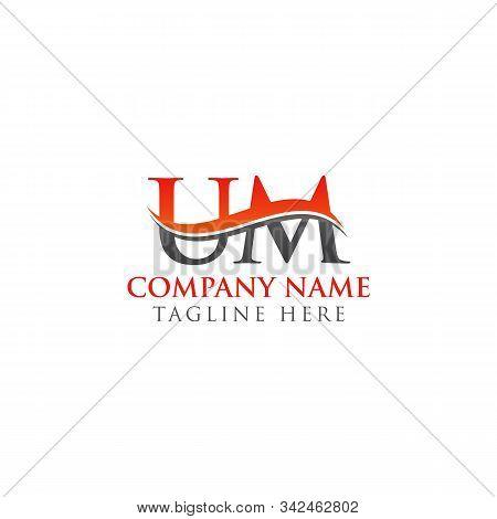 Swoosh Letter Um Logo Design Vector Template. Um Letter Logo Design