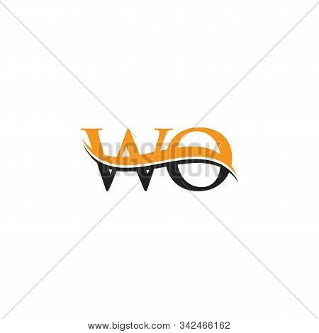 Initial Wo Letter Linked Logo. Creative Letter Wo Logo Vector With Blue And Grey Colors. Wo Logo Des
