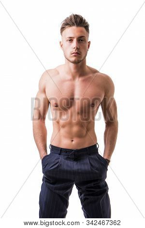 Handsome Shirtless Athletic Young Man Isolated On White Background