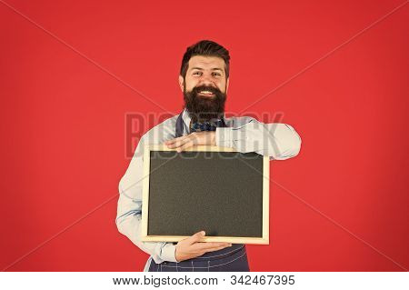 Commercial Kitchen. Welcome. Restaurant Or Cafe Commercial. Bearded Hipster Cook In Apron At Kitchen