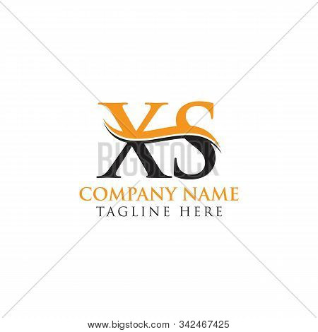 Initial Xs Letter Linked Logo. Creative Letter Xs Logo Vector With Blue And Grey Colors. Xs Logo Des