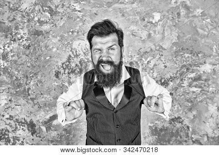 Friendly Wink. Caucasian Man Wink Eye On Abstract Wall. Caucasian Hipster Enjoy Jewish Dance. Bearde