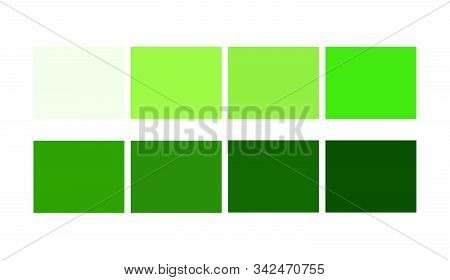Green Color Shade And Ligths Chart For Cartoon Design. Template To Pick Color Swatches.
