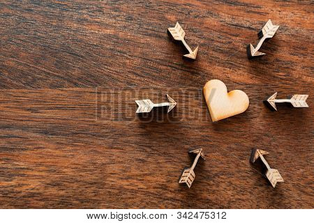 Love Wooden Hearts, Arrows, Valentine Day Love Beautiful Wooden Background. Flat Lay, Top View, Copy