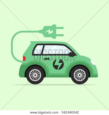 Electric Car Flat, Electric Car Design, Electric Car Vector, Electric Car Illustration, Electric Car