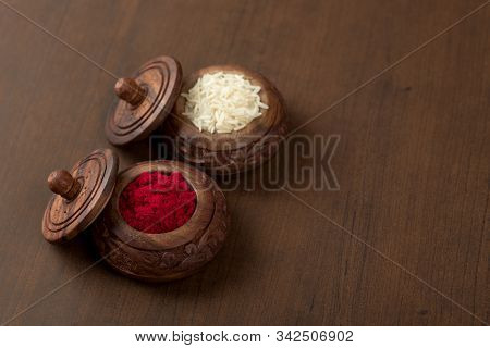 Kumkum And Rice Grain Container. Natural Color Powders Are Used While Worshipping God And An At Ausp
