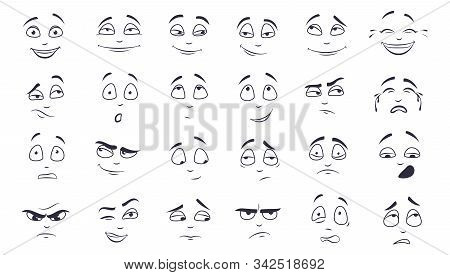 Facial Expression Flat Vector Illustration Set. Happy, Laughing, Pensive, Unhappy, Tired, Angry, Cry