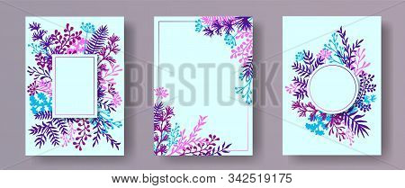Tropical Herb Twigs, Tree Branches, Leaves Floral Invitation Cards Collection. Plants Borders Creati