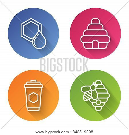 Set Line Honeycomb, Hive For Bees, Cup Of Tea With Honey And Hive For Bees. Color Circle Button. Vec