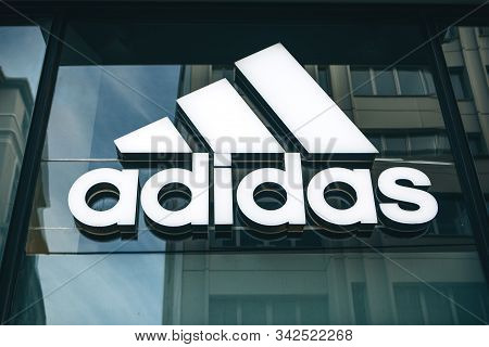 Turkey, Istanbul, December 29, 2019 Adidas Sign At The Entrance To The Store.