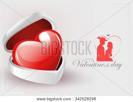 Bright Composition With A White Casket, A Red Heart And Silhouettes Of Lovers Women And Men In A Hat