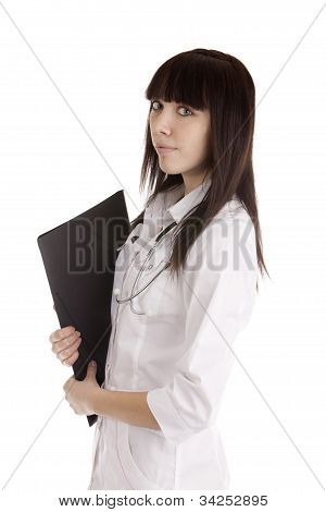 Young Doctor Girl On White