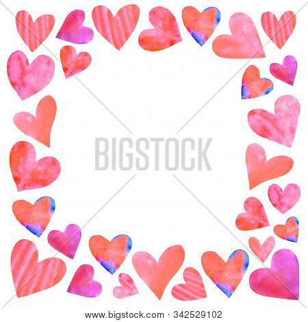 Backgrounds, Textures, Frames, Seamless Patterns Of Watercolor Hearts. Hand Drawn. Love Romance Them