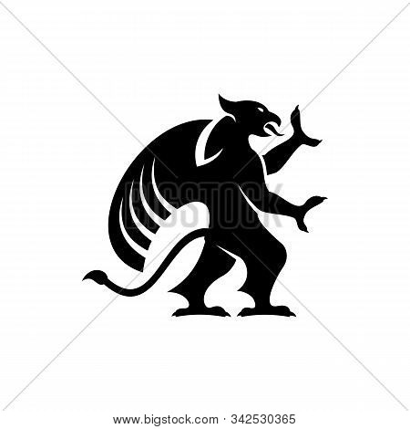 Legendary Griffon Isolated Winged Lion. Vector Griffin Silhouette, Mythical Creature, Wings Of Eagle