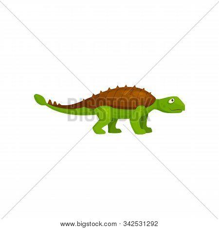 Green Spinosaurus Isolated Prehistoric Dino. Vector Ankylosaurus, Cartoon Dinosaur Of Jurassic Perio