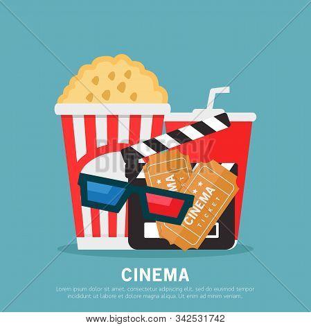 Cinema Illustration, Cinema, Popcorn, Soda Drinks, Cinema 3d Glasses, Clapperboard, Flat Design Vect