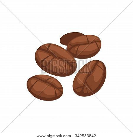 Roasted Coffee Seeds Isolated Aromatic Brown Beans. Vector Aromatic Grains, Espresso Ingredients