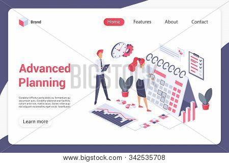 Advanced Planning Landing Page Vector Template. Management Website Interface Idea With Flat Illustra