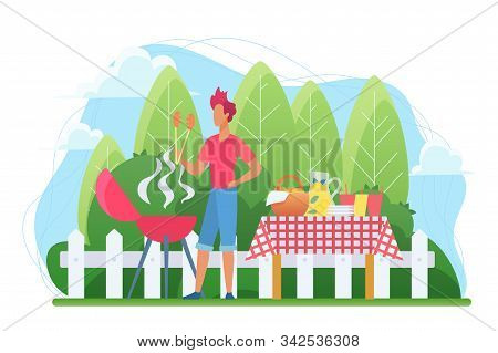 Bbq In The Courtyard Flat Vector Illustration. Barbecue On Backyard. Grill Party. Roasting Steak Out