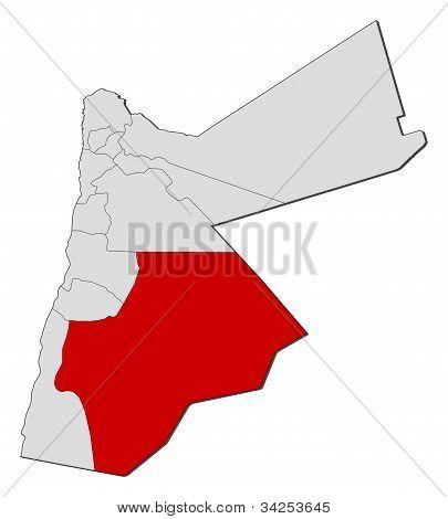 Mapa Jordánska, Maánu zvýrazněny
