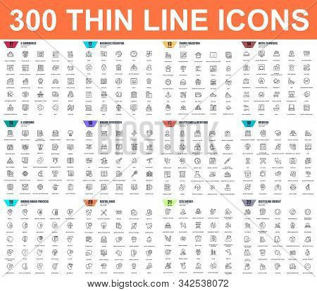 Simple Set Of Vector Thin Line Icons. Contains Such Icons As Business, E-commerce, Travel, Vacation,