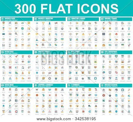 Simple Set Of Vector Flat Icons. Contains Such Icons As Business, Marketing, Shopping, Banking, E-co