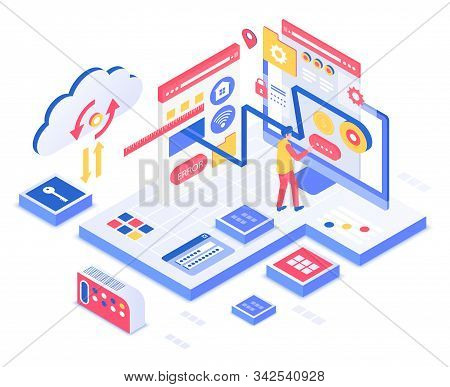 Seo Isometric Vector Illustration. Search Engine Optimization Service. Business, Marketing. Data Ana