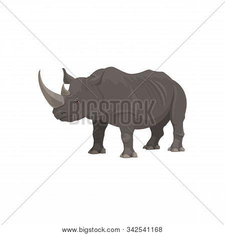 Rhinoceros Wild Animal Vector Isolated Icon. African Safari Zoo And Savanna Hunt Trophy Rhinoceros